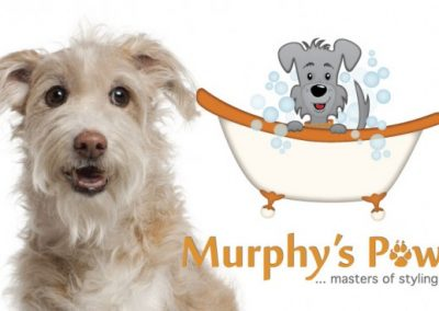 "Identity design for ""Murphy's Paw"" pet grooming salon"